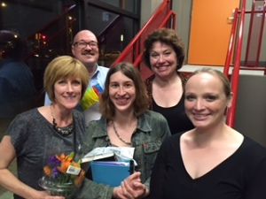 Closing night (left to right): Enid, Donald Stikeleather (doctor), Kaylee Spivey Good (director), Nan Macy (Mom), Katie Codie (Virginia)